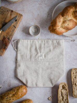 Worek lniany na pieczywo (100% polski len) z kwadratowym spodem - rozmiar S